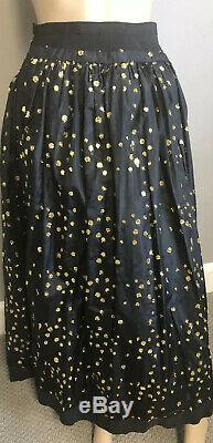 Black and metallic gold Vintage Long Evening skirt with petticoat by Lanvin 8