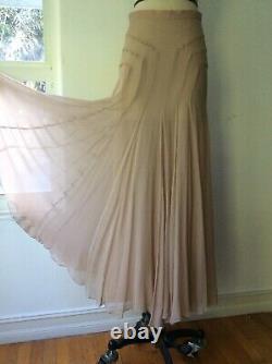 Blumarine maxi Silk Skirt Made In Italy chiffon nude color size s