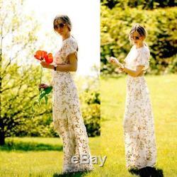 Bnwt Zara Dress Maxi Long Skirt Beige Nude Floral Crochet Lace Cut Rare Uk 6 Xs