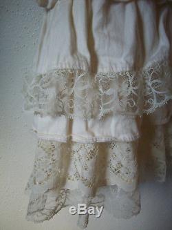 Bohemian Gypsy Lagenlook Lace Tiered Magnolia Pearl Ewa I Walla Style Skirt M