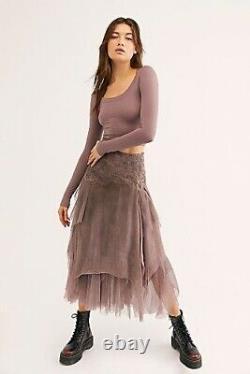 Brenda Knight For Free People Luxe Fairy Chiffon Slik Skirt Purple Size L