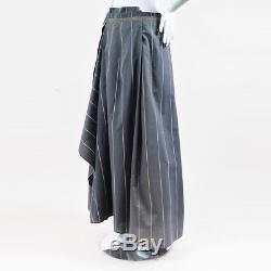 Brunello Cucinelli Gray Pinstripe Beaded Waist Floor Length Skirt SZ 44