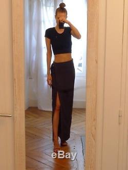 Brunello Cucinelli silk blue grey slit belted maxi straight pencil column skirt