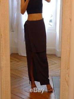 Brunello Cucinelli silk blue grey slit belted maxi straight pencil column skirt