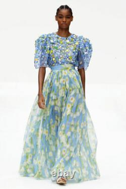 CAROLINA HERRERA Floral-print plissé-silk georgette maxi skirt 6 Nwt