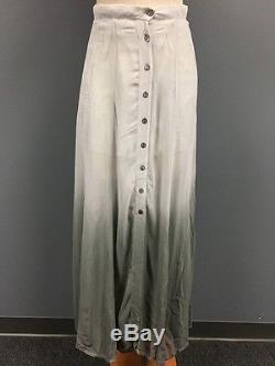 CHAN LUU Gray Ombre Sheer Button Down Lined Flowy Maxi Skirt NWT Sz M 2207A