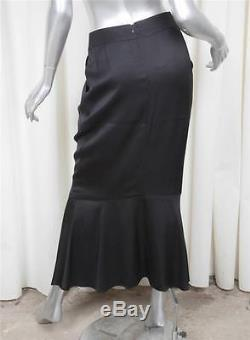 CHANEL 01A Womens Black Silk Satin Straight Mermaid Long Maxi Skirt 38/US 2/XS