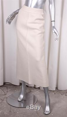 CHANEL 99A Classic Womens Ivory Cream Wool A-Line Long Maxi Skirt 38/6 S