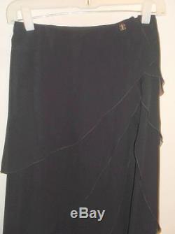CHANEL Black Silk Ruffle Maxi Skirt CC Logo 00T France 36 XS S 2/4