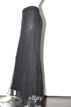 CHANEL Identification 99A Black Long Maxi Lace Skirt Size 40