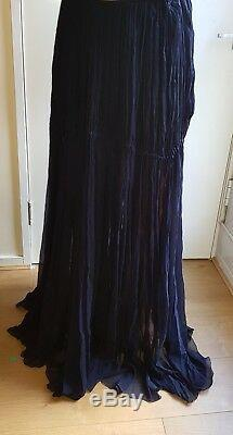 CHLOE Maxi Long Skirt Navy Blue Silk Crepe New With Tags Size 40