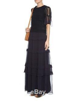 CHLOE NEW AW15 Navy Blue VE Chiffon Silk Ruffled Tiered Maxi Long Skirt 36/6/4
