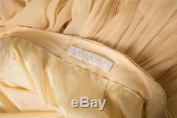 CHLOE Womens Beige Cream Silk Crepe Pleated Satin Trim Long Maxi Skirt 2-34
