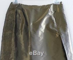 CHRISTIAN LACROIX Olive Silk Taffeta Dressy Long Maxi Mermaid Skirt, France, S