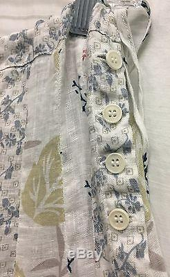 CP Shades Linen Floral Pleated Long Skirt 4 Button Side Tie Style 5208-142 NEW