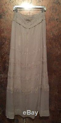 Candela NYC White Chiffon Maxi Lace High Waist Corset Victorian Skirt L $575
