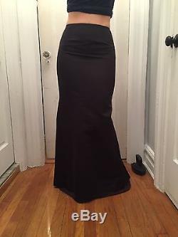 Carolina Herrera Black Silk Satin Long Mermaid Skirt Size 4