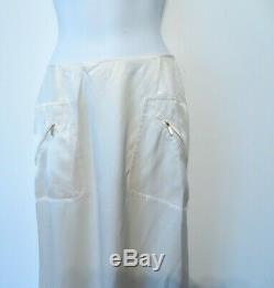 Carolina Herrera Womens Silk Gold Zipper Pocket High LOW Maxi long Skirt Sz 8