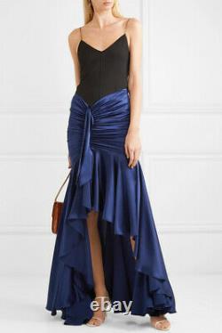 Caroline Constas navy draped silk skirt M $695 New