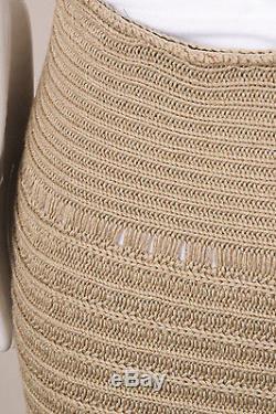 Celine Beige Silk Cotton Tiered Knit Long Skirt SZ M
