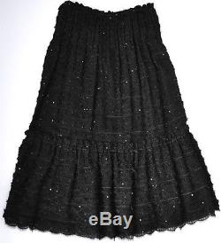 Chanel 05p $4k Lesage Black Sequin Tulle Lace CC Tweed Long Skirt, 34