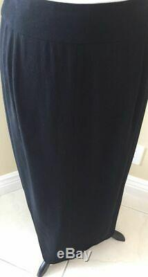 Chanel 100% Light-Weight Wool Long Black Maxi Pencil Skirt, Size France 40, US 8