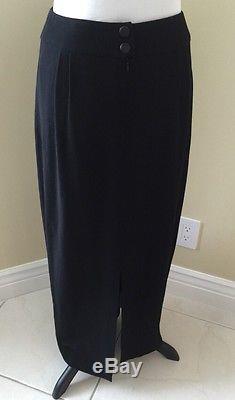 Chanel 100% Light-weight Wool, Long, Black Maxi Skirt, Size 40/8