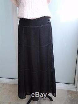 Chanel 11P Black Long Perforated skirt sz 44 sz L sz 10 NWT