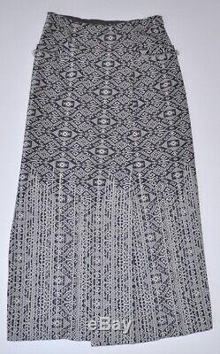 Chanel 14c $2.6k Navy/ecru Jacquard Print Maxi Fringed Skirt, 38, Nwt