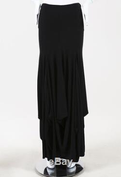 Chanel Black Jersey Knit Draped Maxi Skirt SZ 40