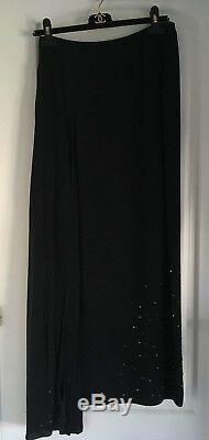 Chanel Black Sequins Lesage 100% Silk Maxi Long Skirt
