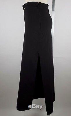 Chanel sz 38 / US 6 99C long black full length maxi skirt logo belt vintage