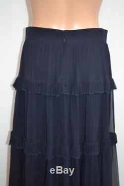 Chloe'Dark Navy' Crinkled Silk Tiered Ruffle Maxi Skirt, Size 38/US 6