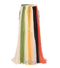 Chloe Striped Silk Crepe Maxi Skirt 36