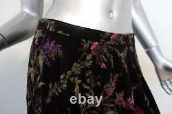 Christian Dior Maxi Skirt Black Floral Print Silk Georgette Size 42 US 10