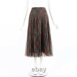 Christian Dior Skirt Multicolor Plaid Pleated Maxi