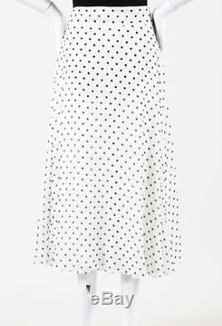 Christian Dior White Black Polka Dot Printed Maxi Skirt
