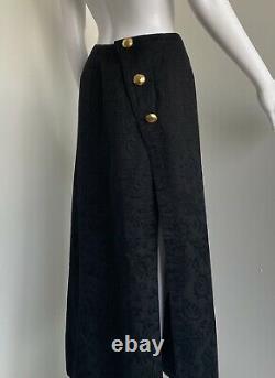 Christian Lacroix Spring 1993 size 38 warp around long skirt black cotton vintag