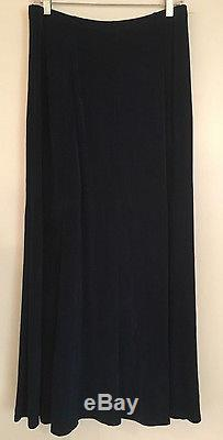 Citiknits Acetate Jersey Stretch Knit Turquoise Teal Long Travel Maxi Skirt Sz L