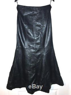Crazy-outfits Black Genuine Real Leather Floor Length Long Maxi Skirt Ssw-030 12