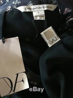 DIANE VON FURSTENBERG (DVF) Bethune Silk Wrap Maxi Skirt Navy Daisy Bud NWT $548
