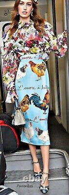DOLCE & GABBANA Skirt Rooster Chicken Stretch Skirt IT46 / UK 14