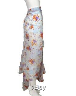 DRIES VAN NOTEN-NWT Blue Floral Side Drape Skirt, Size-10