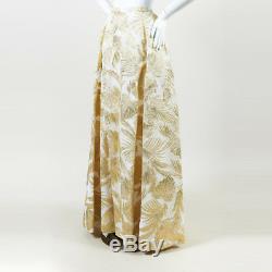 Delpozo NWOT Metallic Gold & White Leaf Print Evening Maxi Skirt SZ 38