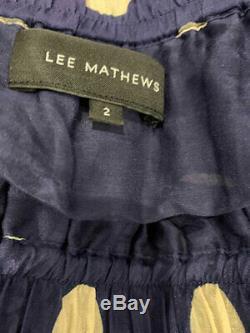 Designer Lee Mathews Size 10 Blue & Gold Polka Dot Silk Maxi Women's Skirt