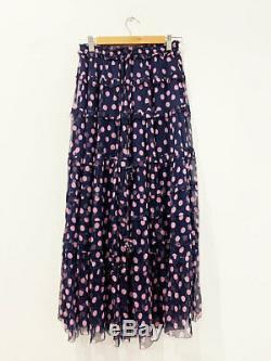 Designer Lee Mathews Size 10 Blue & Pink Polka Dot Silk Maxi Women's Skirt