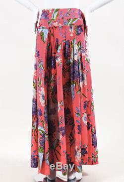Diane von Furstenberg Pink Multicolor Silk Floral Print Maxi Wrap Skirt SZ 4