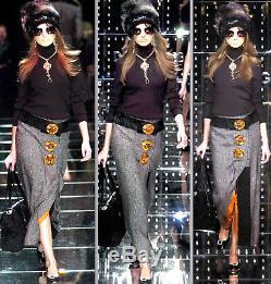 Dolce & Gabbana Astrakhan Fur Sicily Amber Buttons Decorated Wool Long Skirt 42