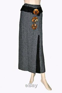 Dolce & Gabbana Astrakhan Fur Sicily Amber Buttons Decorated Wool Long Skirt 42