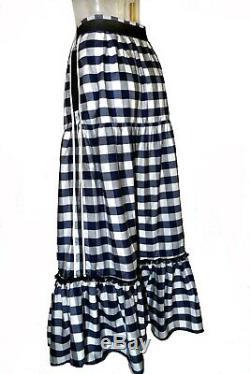 Dolce & Gabbana Blue & White Gingham Print Poplin Cotton Tiered Long Skirt
